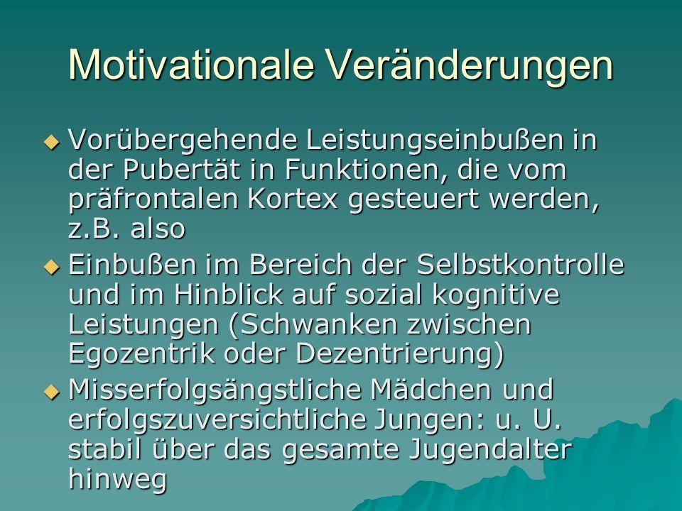 Motivationale Veränderungen Vorübergehende Leistungseinbußen in der Pubertät in Funktionen, die vom präfrontalen Kortex gesteuert werden, z.B. also Vo