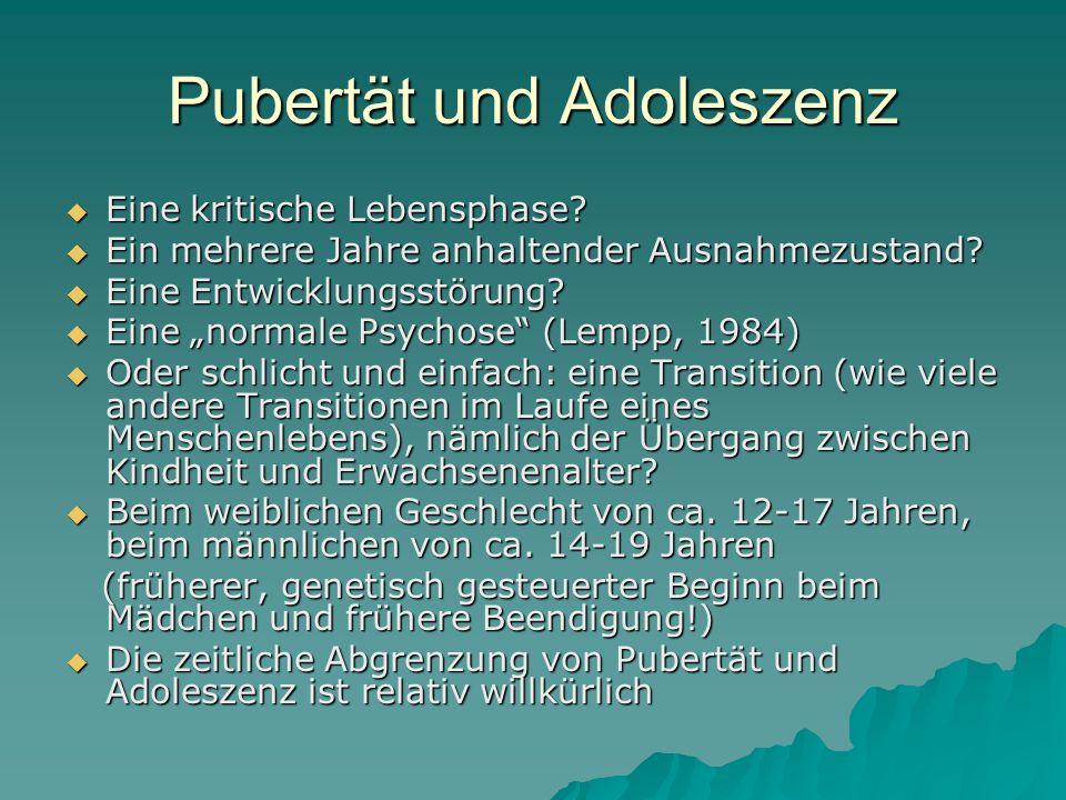 Pubertät und Adoleszenz Eine kritische Lebensphase? Eine kritische Lebensphase? Ein mehrere Jahre anhaltender Ausnahmezustand? Ein mehrere Jahre anhal