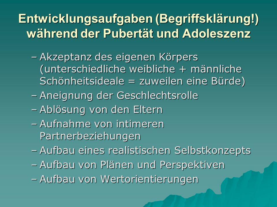 Entwicklungsaufgaben (Begriffsklärung!) während der Pubertät und Adoleszenz –Akzeptanz des eigenen Körpers (unterschiedliche weibliche + männliche Sch