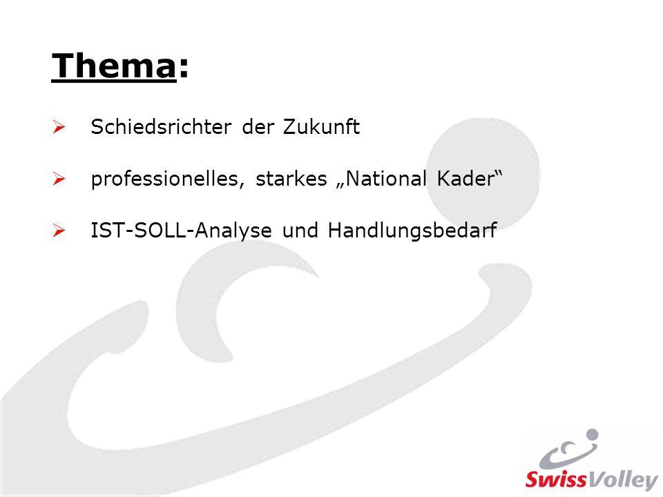 Thema: Schiedsrichter der Zukunft professionelles, starkes National Kader IST-SOLL-Analyse und Handlungsbedarf