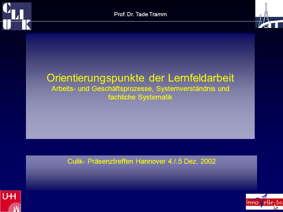 Orientierungspunkte der Lernfeldarbeit Arbeits- und Geschäftsprozesse, Systemverständnis und fachliche Systematik Culik- Präsenztreffen Hannover 4./.5