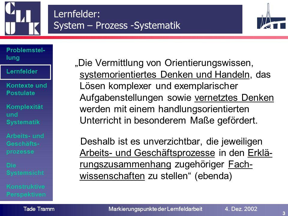 Problemstel- lung Lernfelder Kontexte und Postulate Komplexität und Systematik Arbeits- und Geschäfts- prozesse Die Systemsicht Konstruktive Perspekti