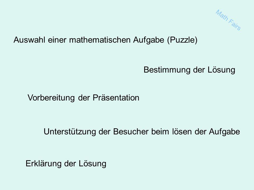 Erklärung der Lösung Auswahl einer mathematischen Aufgabe (Puzzle) Bestimmung der Lösung Vorbereitung der Präsentation Unterstützung der Besucher beim lösen der Aufgabe Math Fairs