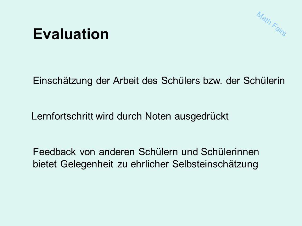 Math Fairs Evaluation Einschätzung der Arbeit des Schülers bzw.