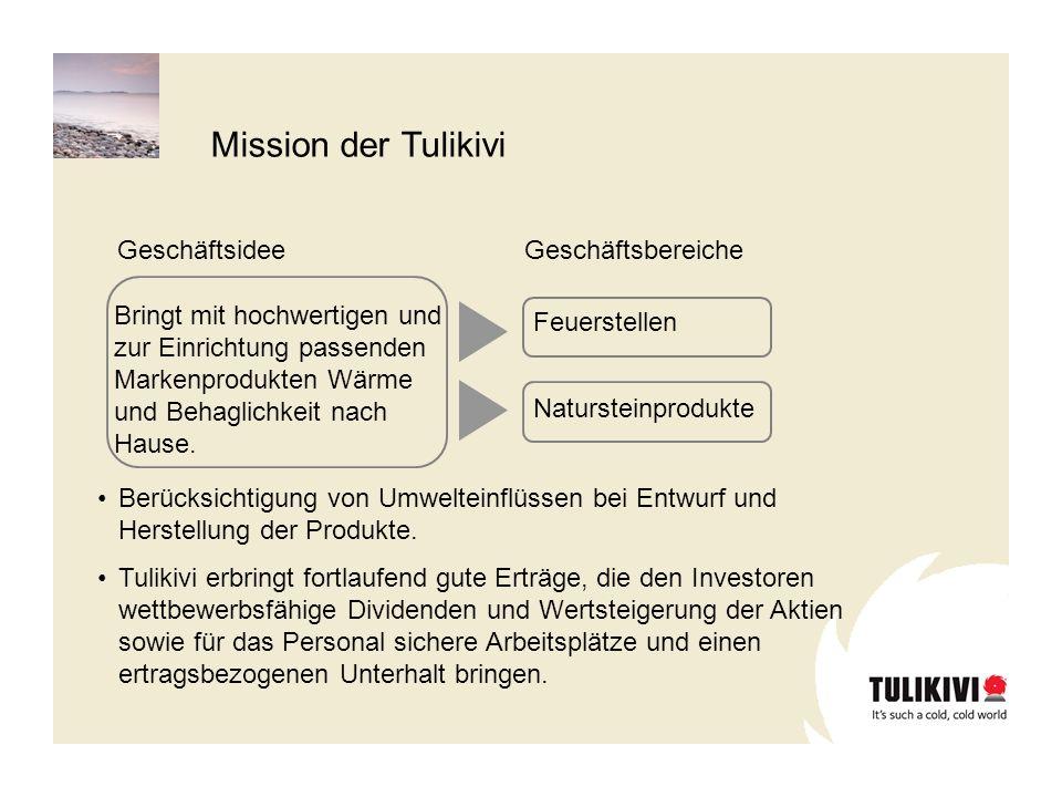 Vision der Tulikivi für das Jahr 2009 Tulikivi ist auf ausgesuchten Marktgebieten ein führendes Unternehmen für Markenprodukte des Heizungsbereiches und Natursteinprodukte für Heime.
