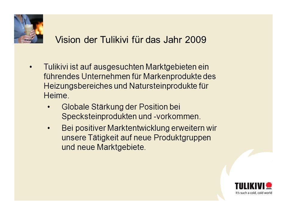 Vision der Tulikivi für das Jahr 2009 Tulikivi ist auf ausgesuchten Marktgebieten ein führendes Unternehmen für Markenprodukte des Heizungsbereiches u