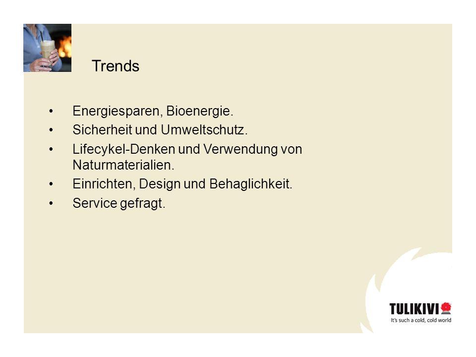 Trends Energiesparen, Bioenergie. Sicherheit und Umweltschutz. Lifecykel-Denken und Verwendung von Naturmaterialien. Einrichten, Design und Behaglichk