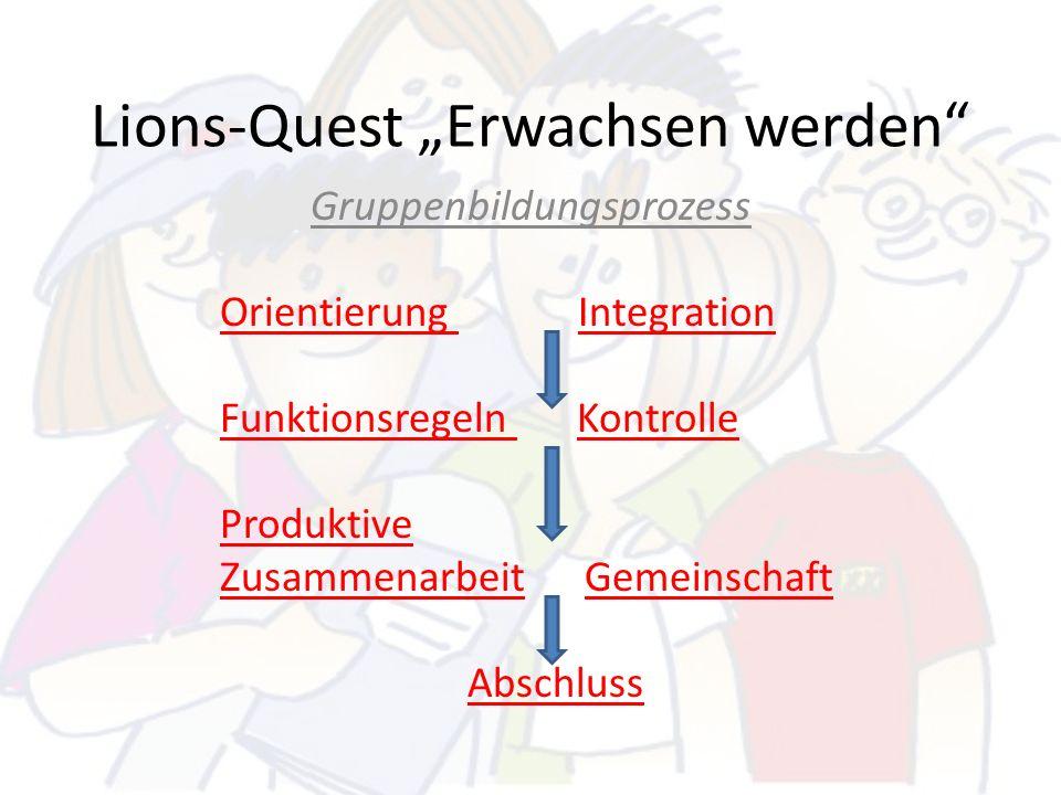 Lions-Quest Erwachsen werden Gruppenbildungsprozess Orientierung Integration Funktionsregeln Kontrolle Produktive Zusammenarbeit Gemeinschaft Abschlus