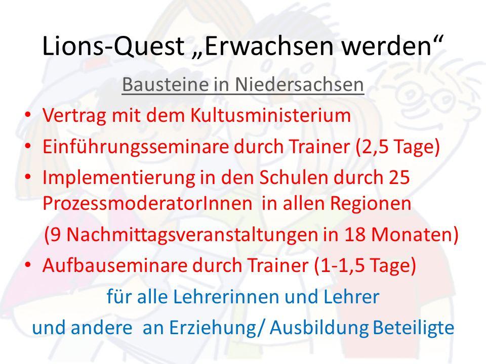 Lions-Quest Erwachsen werden Bausteine in Niedersachsen Vertrag mit dem Kultusministerium Einführungsseminare durch Trainer (2,5 Tage) Implementierung