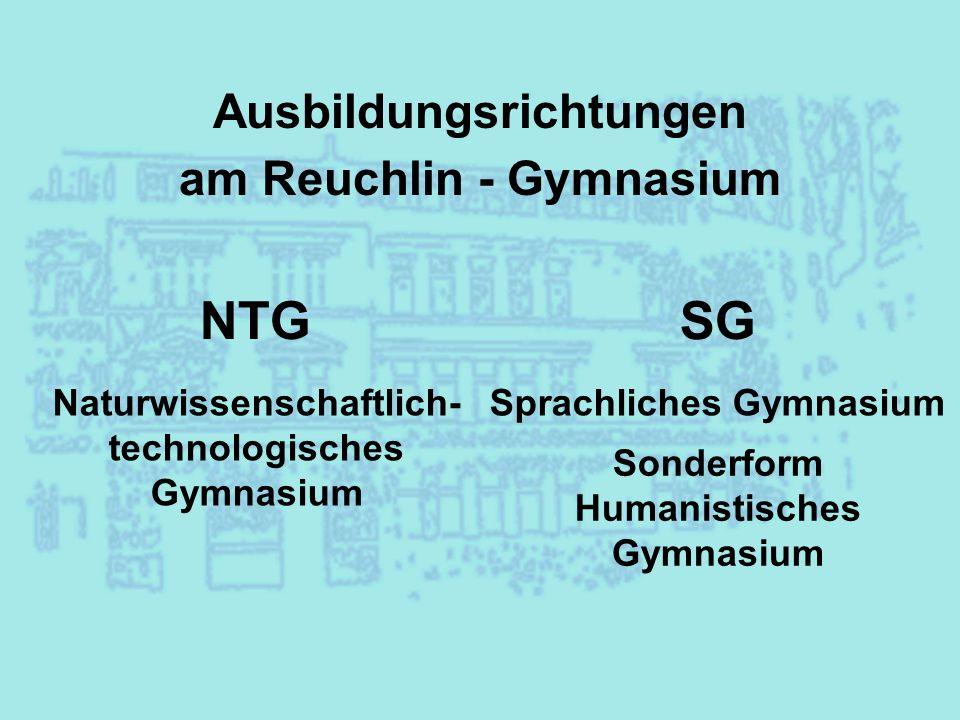 Ausbildungsrichtungen am Reuchlin - Gymnasium NTGSG Naturwissenschaftlich- technologisches Gymnasium Sprachliches Gymnasium Sonderform Humanistisches