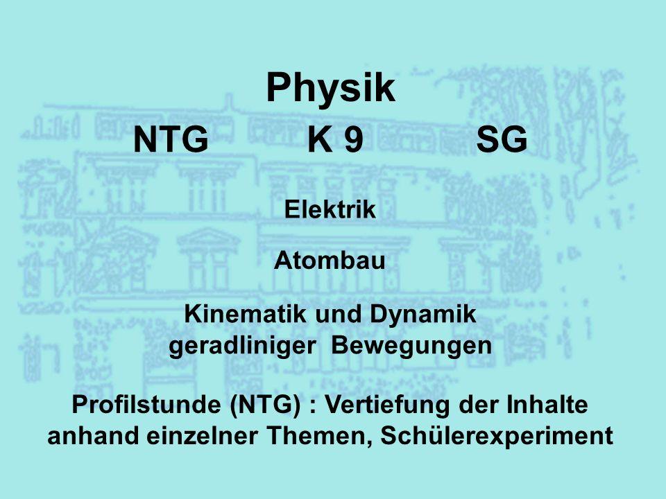 Physik Elektrik Atombau Kinematik und Dynamik geradliniger Bewegungen Profilstunde (NTG) : Vertiefung der Inhalte anhand einzelner Themen, Schülerexpe