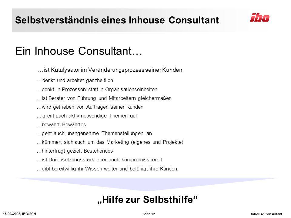 Seite 12 15.09..2003, IBO/SCH Inhouse Consultant Selbstverständnis eines Inhouse Consultant Ein Inhouse Consultant… …ist Katalysator im Veränderungsprozess seiner Kunden...