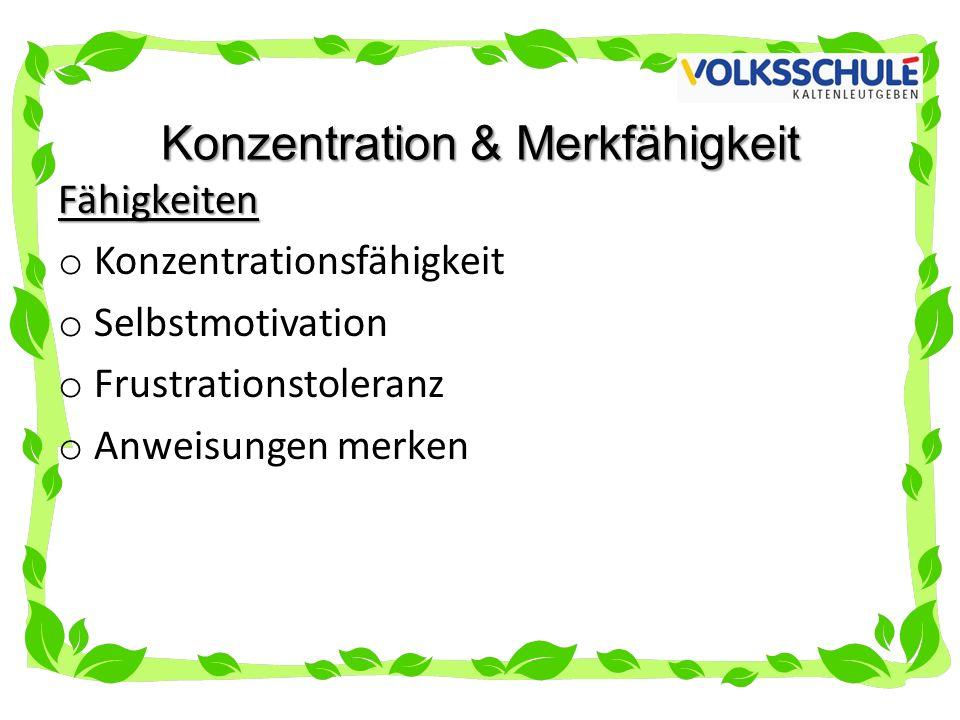 Konzentration & Merkfähigkeit Fähigkeiten o Konzentrationsfähigkeit o Selbstmotivation o Frustrationstoleranz o Anweisungen merken