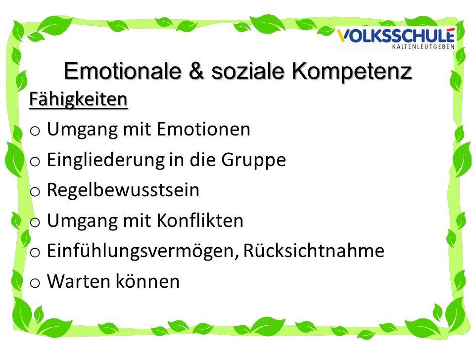 Emotionale & soziale Kompetenz Fähigkeiten o Umgang mit Emotionen o Eingliederung in die Gruppe o Regelbewusstsein o Umgang mit Konflikten o Einfühlungsvermögen, Rücksichtnahme o Warten können