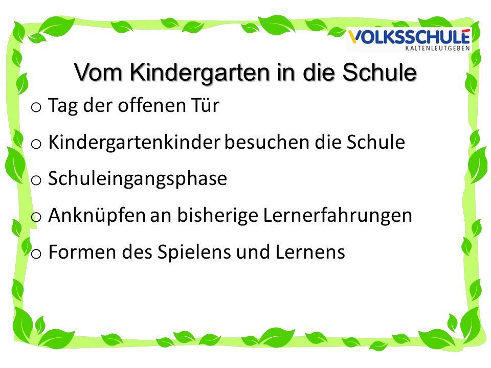 Vom Kindergarten in die Schule o Tag der offenen Tür o Kindergartenkinder besuchen die Schule o Schuleingangsphase o Anknüpfen an bisherige Lernerfahrungen o Formen des Spielens und Lernens