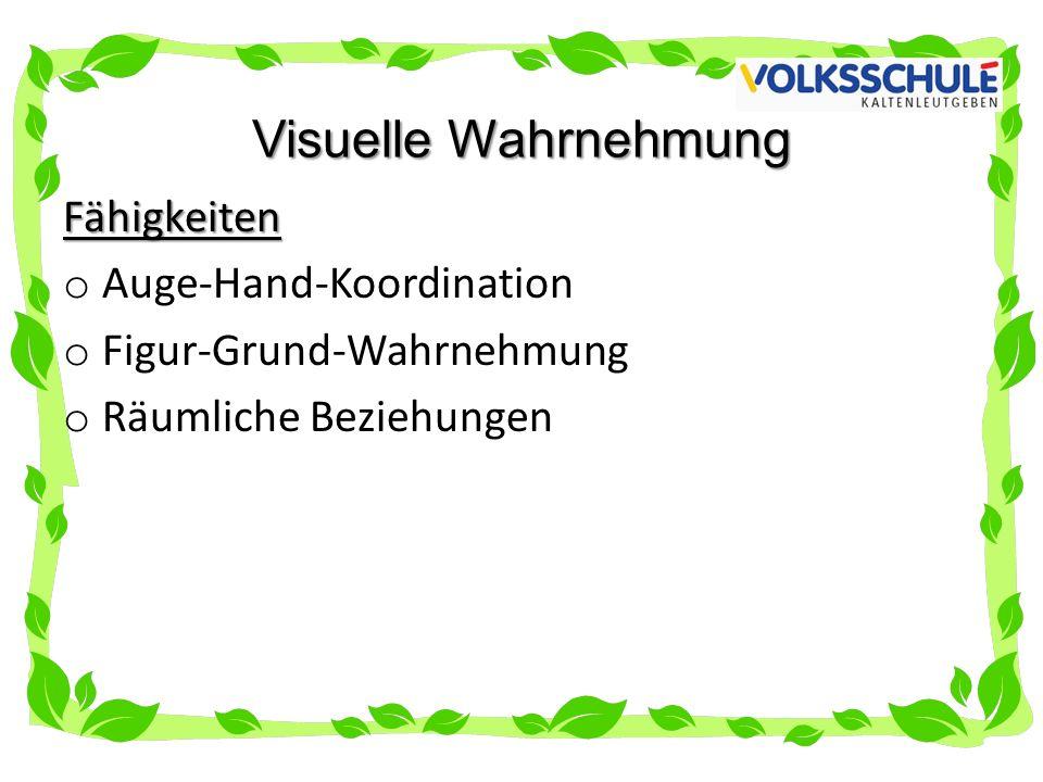 Visuelle Wahrnehmung Fähigkeiten o Auge-Hand-Koordination o Figur-Grund-Wahrnehmung o Räumliche Beziehungen