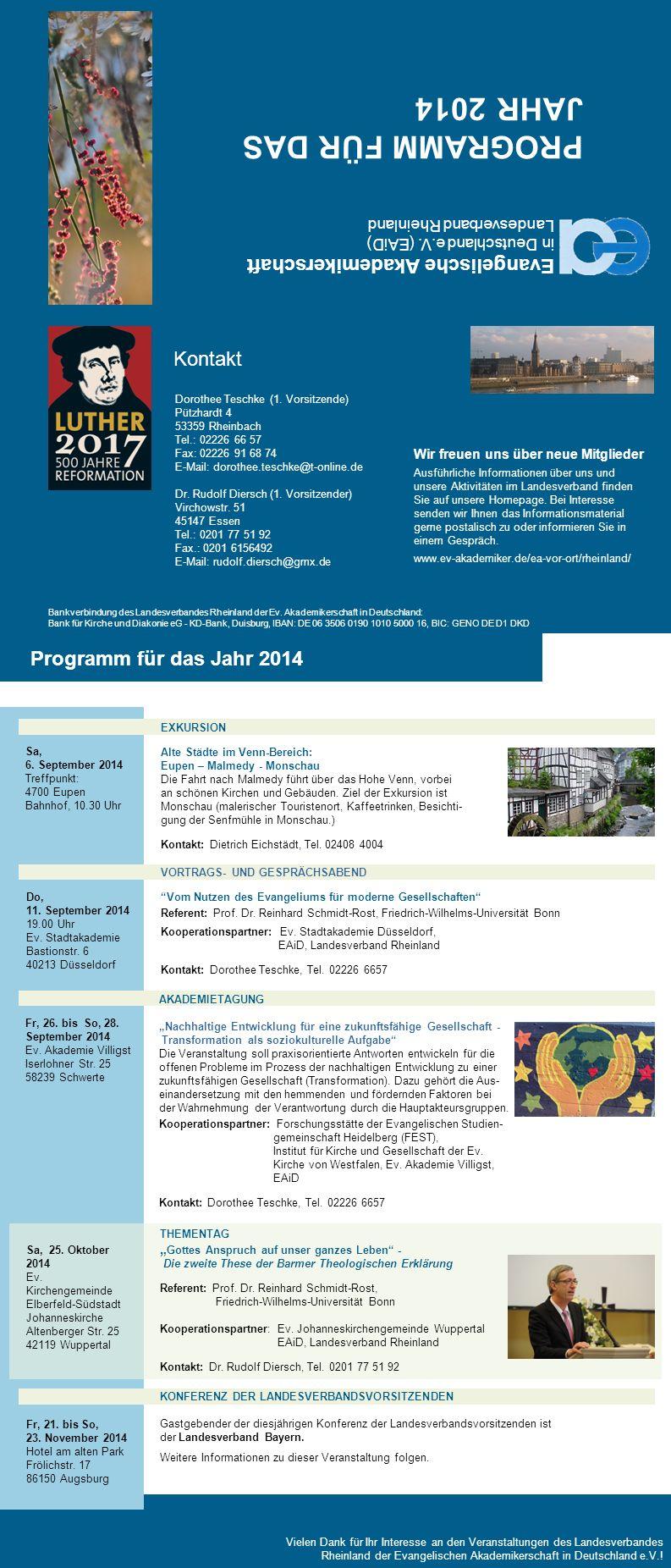 Dorothee Teschke Dr.Rudolf Diersch Programm für das Jahr 2014 AKADEMIETAGUNG Arbeit aus Liebe.