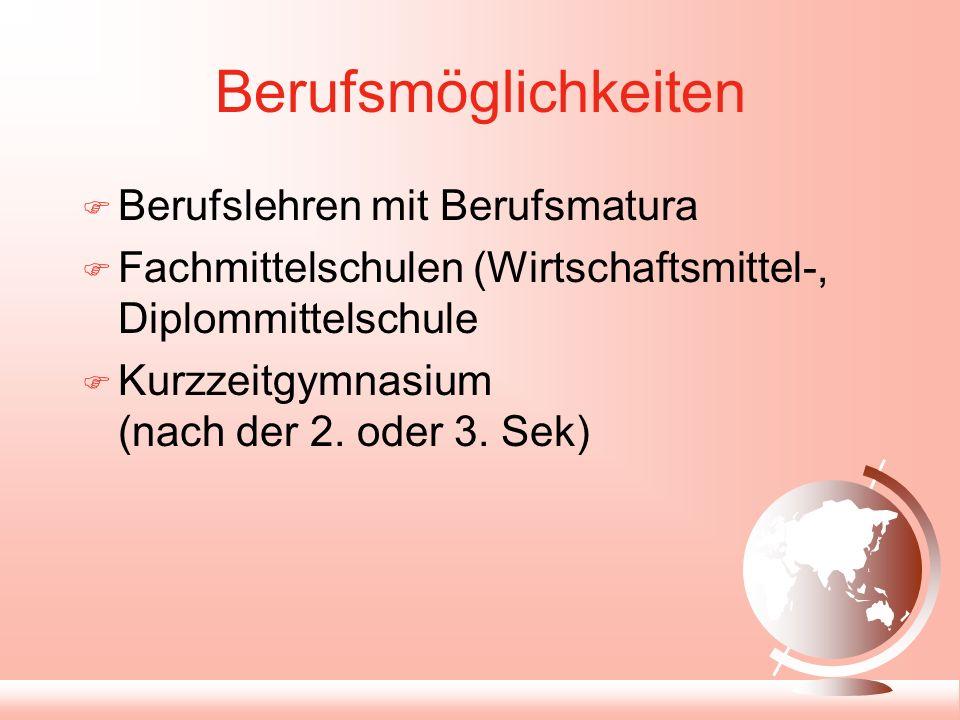 Berufsmöglichkeiten Berufslehren mit Berufsmatura Fachmittelschulen (Wirtschaftsmittel-, Diplommittelschule Kurzzeitgymnasium (nach der 2.