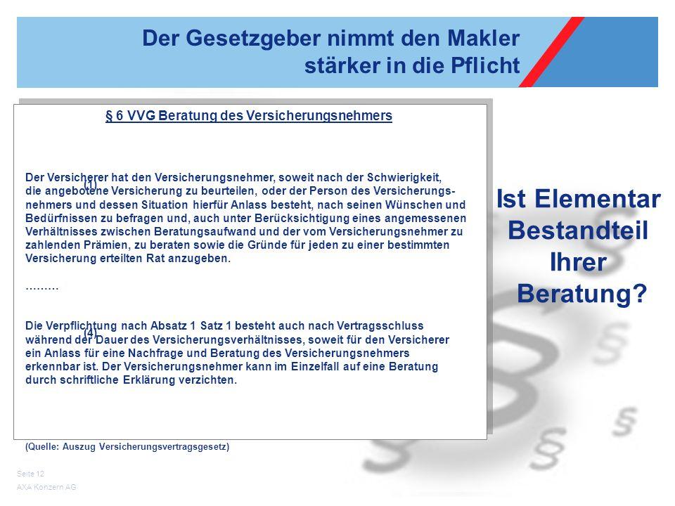 AXA Konzern AG Seite 12 Der Gesetzgeber nimmt den Makler stärker in die Pflicht § 6 VVG Beratung des Versicherungsnehmers Der Versicherer hat den Vers