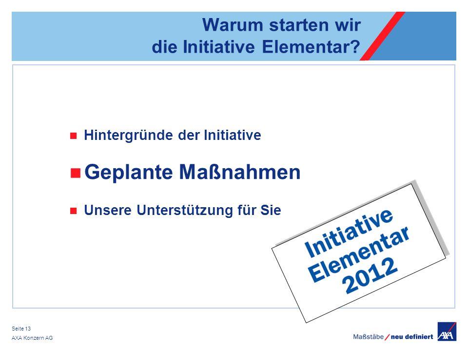 AXA Konzern AG Seite 13 Warum starten wir die Initiative Elementar.
