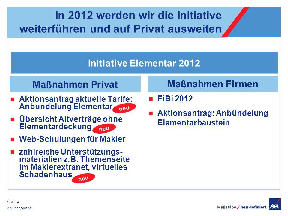 AXA Konzern AG Seite 14 In 2012 werden wir die Initiative weiterführen und auf Privat ausweiten Initiative Elementar 2012 Maßnahmen Firmen Aktionsantr