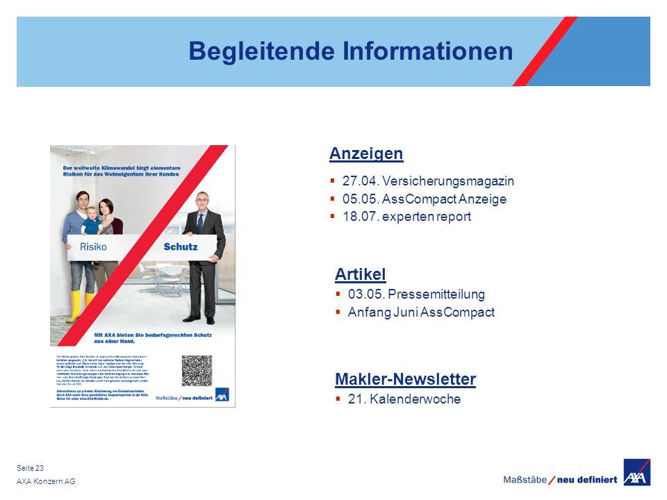 AXA Konzern AG Seite 23 Begleitende Informationen Anzeigen 27.04.