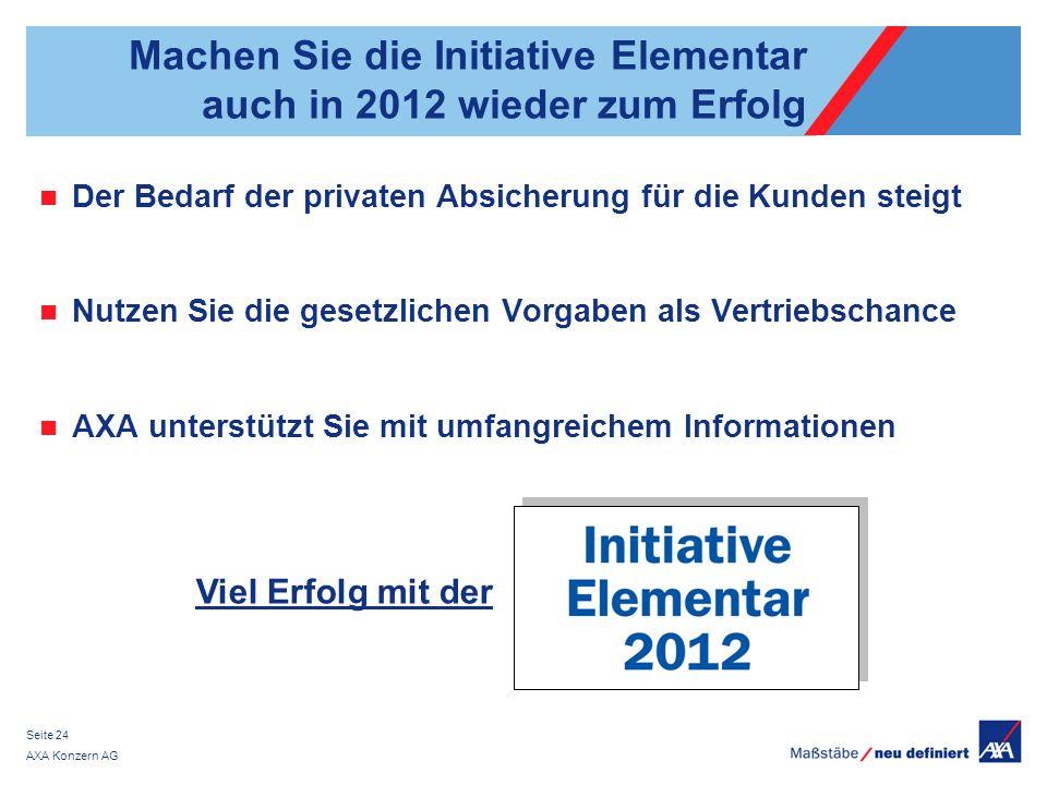AXA Konzern AG Seite 24 Machen Sie die Initiative Elementar auch in 2012 wieder zum Erfolg Der Bedarf der privaten Absicherung für die Kunden steigt N