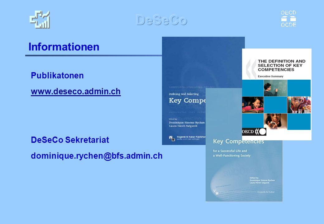 Informationen Publikatonen www.deseco.admin.ch DeSeCo Sekretariat dominique.rychen@bfs.admin.ch