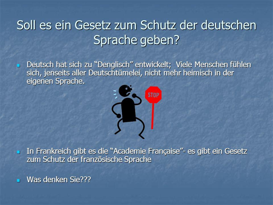 Was denken die Deutschen über Denglisch? Denglisch als Sprache der Jugendlichen - die Jugend in Dt. spricht Denglisch gern, aber viele ältere Leute si