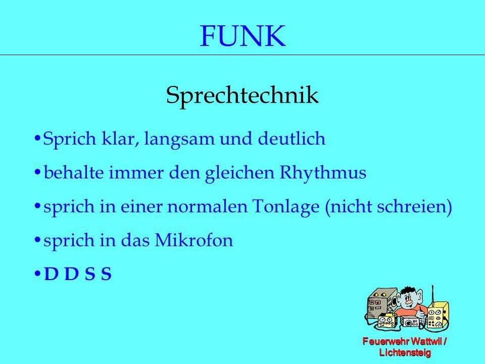 Feuerwehr Wattwil / Lichtensteig FUNK Sprechtechnik Sprich klar, langsam und deutlich behalte immer den gleichen Rhythmus sprich in einer normalen Ton