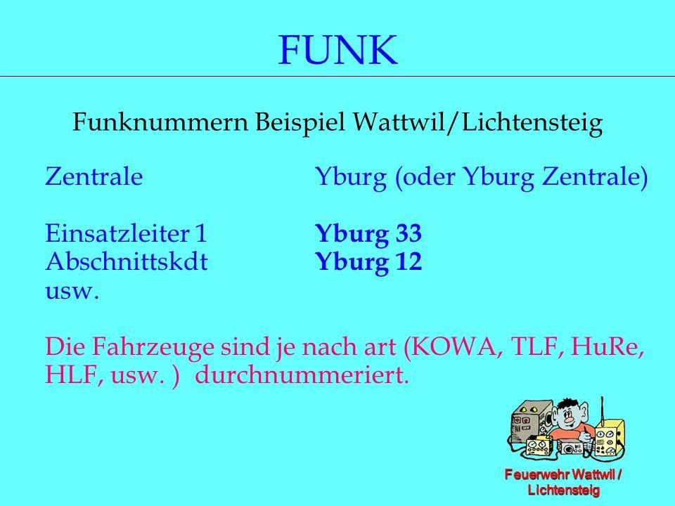 Feuerwehr Wattwil / Lichtensteig FUNK Funknummern Beispiel Wattwil/Lichtensteig Zentrale Yburg (oder Yburg Zentrale) Einsatzleiter 1 Yburg 33 Abschnit
