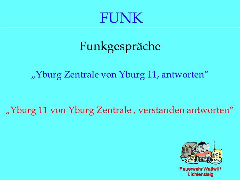 Feuerwehr Wattwil / Lichtensteig FUNK Funkgespräche Yburg Zentrale von Yburg 11, antworten Yburg 11 von Yburg Zentrale, verstanden antworten