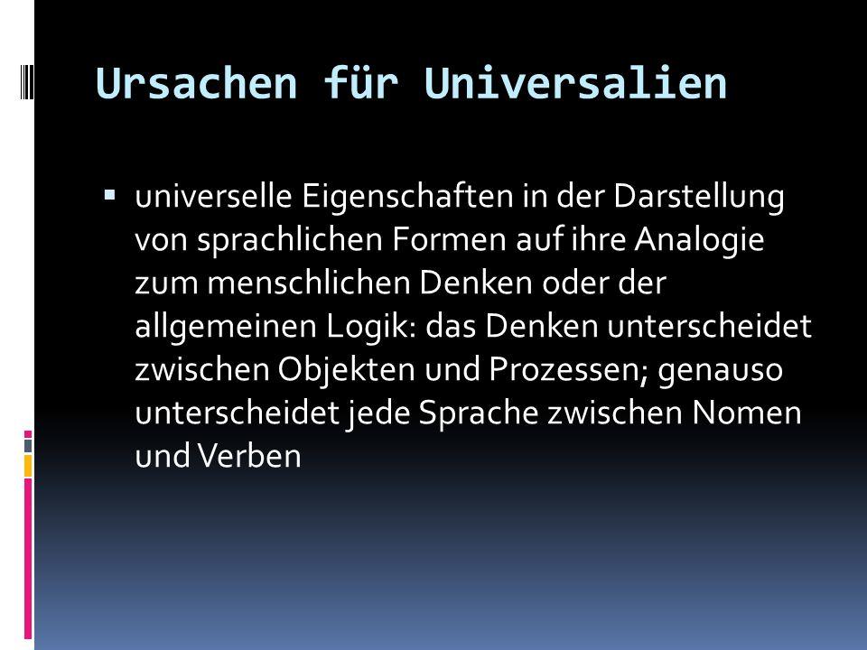 Ursachen für Universalien universelle Eigenschaften in der Darstellung von sprachlichen Formen auf ihre Analogie zum menschlichen Denken oder der allg