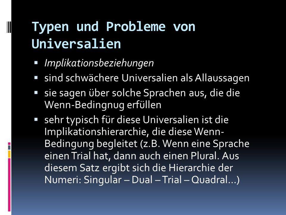 Typen und Probleme von Universalien Implikationsbeziehungen sind schwächere Universalien als Allaussagen sie sagen über solche Sprachen aus, die die W