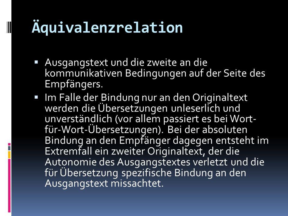 Äquivalenzrelation Ausgangstext und die zweite an die kommunikativen Bedingungen auf der Seite des Empfängers. Im Falle der Bindung nur an den Origina