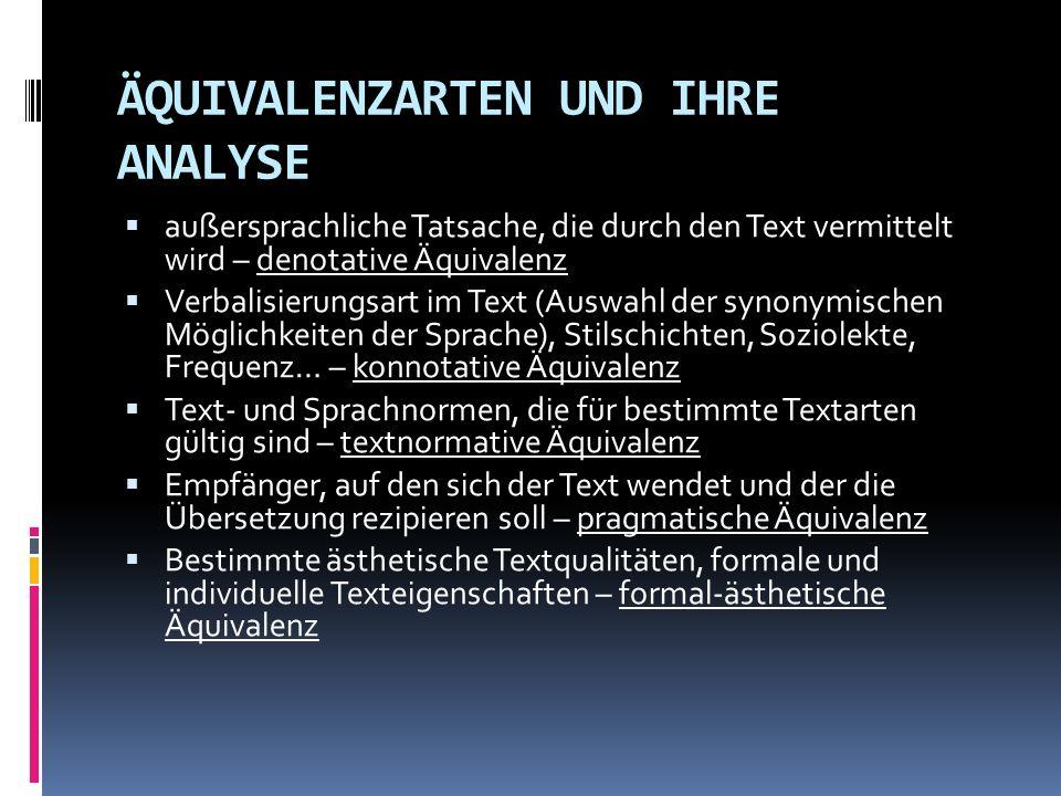 ÄQUIVALENZARTEN UND IHRE ANALYSE außersprachliche Tatsache, die durch den Text vermittelt wird – denotative Äquivalenz Verbalisierungsart im Text (Aus
