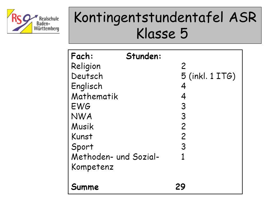 Kontingentstundentafel ASR Klasse 5 Fach: Stunden: Religion2 Deutsch5 (inkl. 1 ITG) Englisch4 Mathematik4 EWG3 NWA3 Musik2 Kunst2 Sport3 Methoden- und