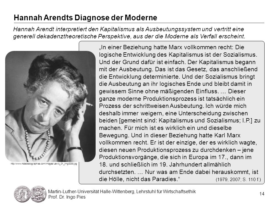Die wirtschaftsethische Diagnose der Moderne 15 Martin-Luther-Universität Halle-Wittenberg, Lehrstuhl für Wirtschaftsethik Prof.