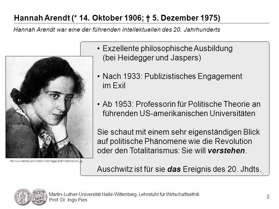 2 Martin-Luther-Universität Halle-Wittenberg, Lehrstuhl für Wirtschaftsethik Prof. Dr. Ingo Pies Hannah Arendt war eine der führenden Intellektuellen