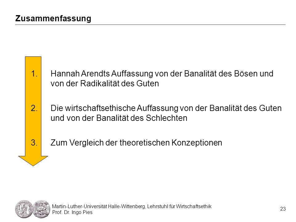 23 Martin-Luther-Universität Halle-Wittenberg, Lehrstuhl für Wirtschaftsethik Prof. Dr. Ingo Pies Zusammenfassung 1.Hannah Arendts Auffassung von der
