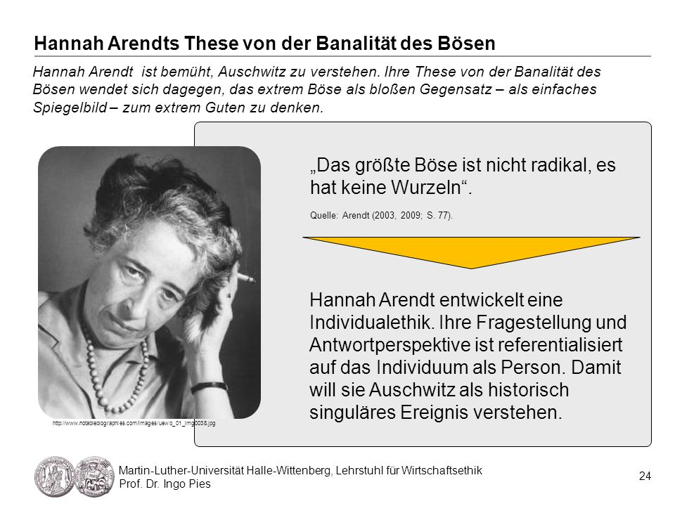 24 Martin-Luther-Universität Halle-Wittenberg, Lehrstuhl für Wirtschaftsethik Prof. Dr. Ingo Pies Hannah Arendt ist bemüht, Auschwitz zu verstehen. Ih