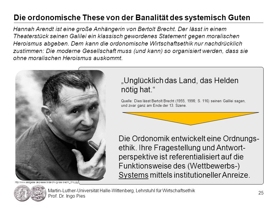 25 Martin-Luther-Universität Halle-Wittenberg, Lehrstuhl für Wirtschaftsethik Prof. Dr. Ingo Pies Hannah Arendt ist eine große Anhängerin von Bertolt