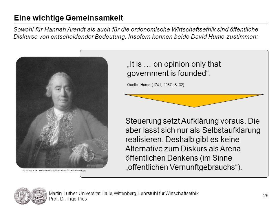 26 Martin-Luther-Universität Halle-Wittenberg, Lehrstuhl für Wirtschaftsethik Prof. Dr. Ingo Pies Sowohl für Hannah Arendt als auch für die ordonomisc