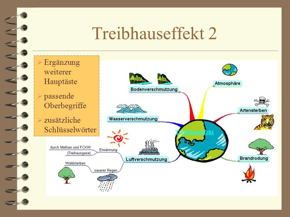 Treibhauseffekt 1 Zentrales Thema mit einem Ast, Oberbegriff, Schlüsselwörtern sowie Symbolen
