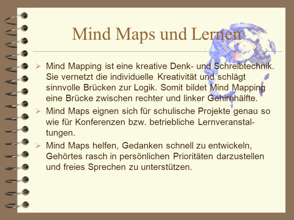Mind Maps sind, wie der englische Begriff schon ausdrückt, Gedankenkarten sind nicht aufwändig.