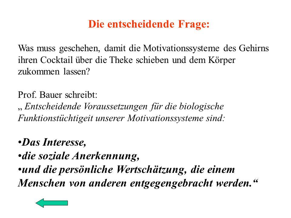 Forschungsergebnissen aus der Neurobiologie von Prof. Joachim Bauer: Ich zitiere aus einer solchen Studie: