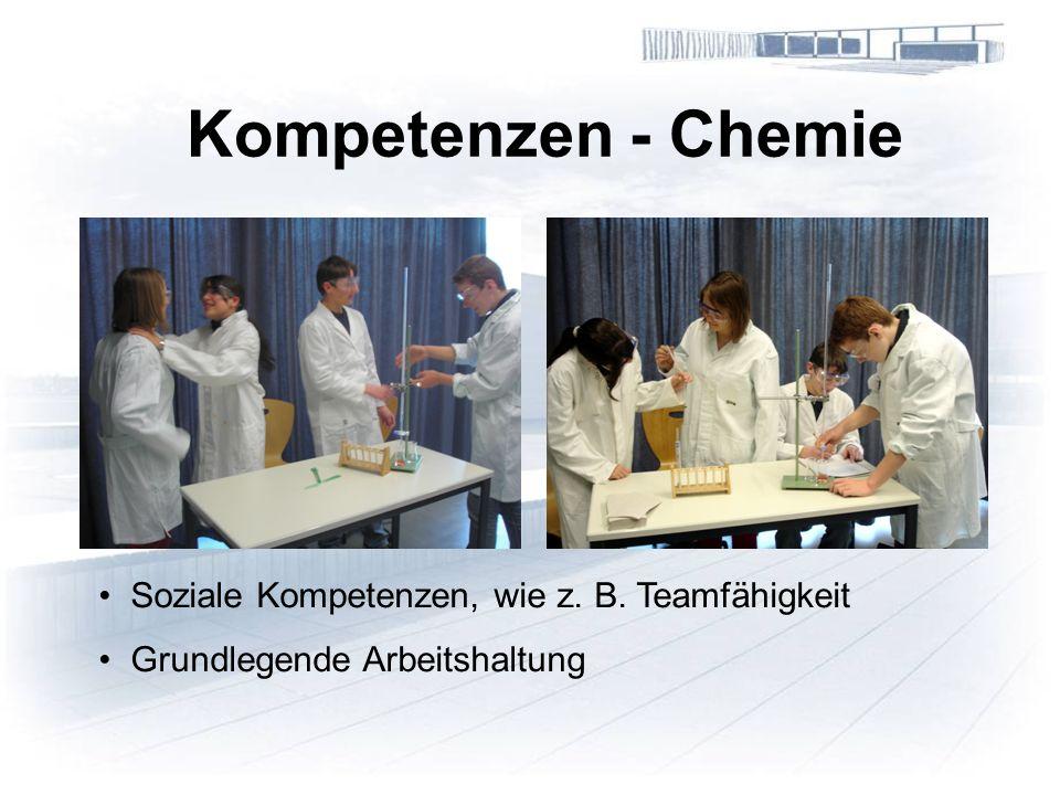 Kompetenzen - Chemie Soziale Kompetenzen, wie z. B. Teamfähigkeit Grundlegende Arbeitshaltung