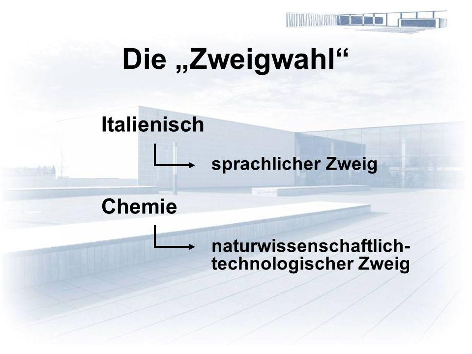 Die Zweigwahl Italienisch sprachlicher Zweig Chemie naturwissenschaftlich- technologischer Zweig