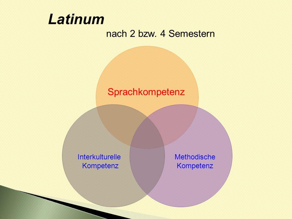 Latinum nach 2 bzw. 4 Semestern Sprachkompetenz Interkulturelle Kompetenz Methodische Kompetenz