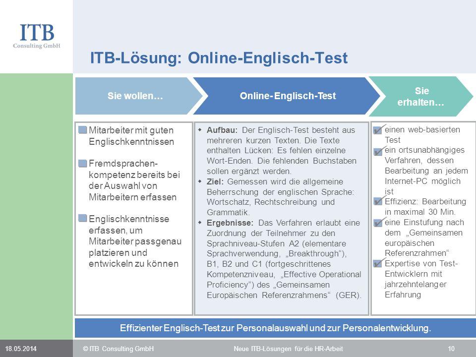 1018.05.2014 ITB-Lösung: Online-Englisch-Test Mitarbeiter mit guten Englischkenntnissen Fremdsprachen- kompetenz bereits bei der Auswahl von Mitarbeit